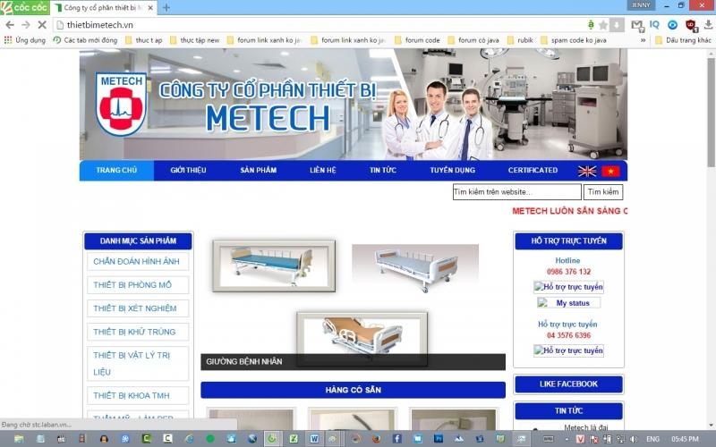 Trang web của Công ty Cổ phần Thiết bị Metech