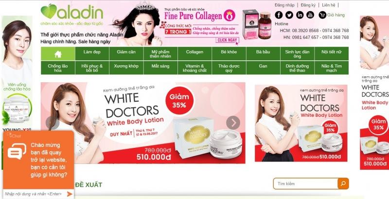 Website Công ty cổ phần thương mại và xuất nhập khẩu Aladin