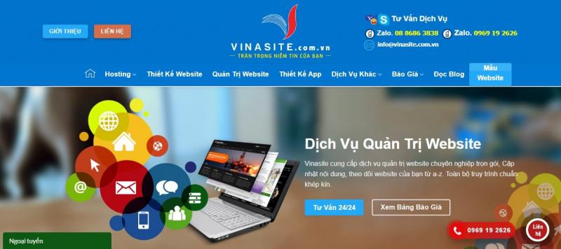 Vinasite - đơn vị cung cấp dịch vụ quản trị webiste chuyên nghiệp và uy tín.
