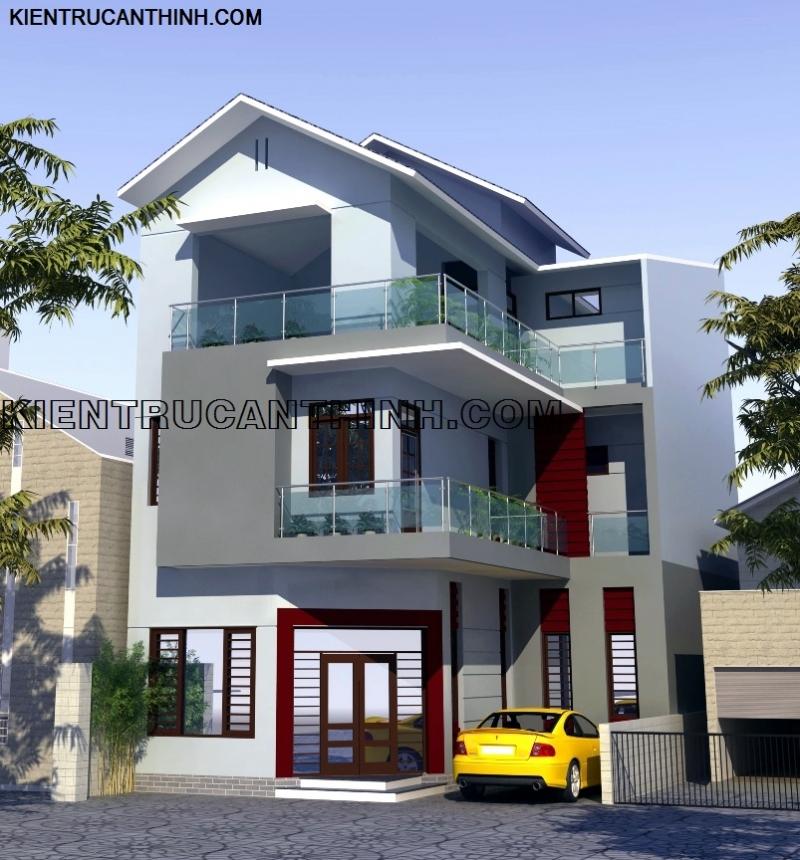 Mô hình thiết kế nhà Biệt thự ông Hùng Cường, Diêm Điền, Thái Bình.