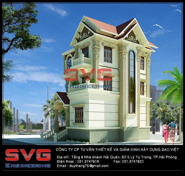 Công trình nhà biệt thự bà Đỗ Thị Phương, Đội 6 thôn Pháp Cổ, xã Lại Xuân, huyện Thủy Nguyên, Hải Phòng.