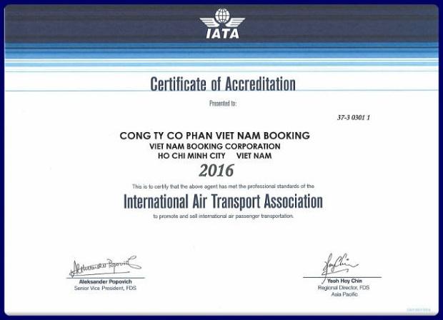 Chứng nhận của IATA - Hiệp hội Vận tải Hàng không Quốc tế