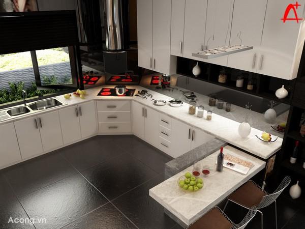 Màu đen của nền nhà tương phản mạnh với màu trắng của tủ bếp khiến cho tủ bếp càng thêm ấn tượng