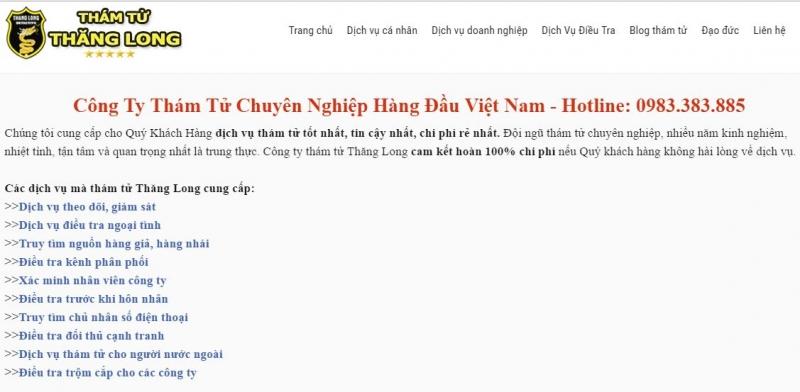 Trang web của công ty dịch vụ cung cấp thông tin Thăng Long