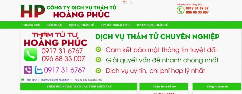 Trang web của công ty dịch vụ thám tử Hoàng Phúc