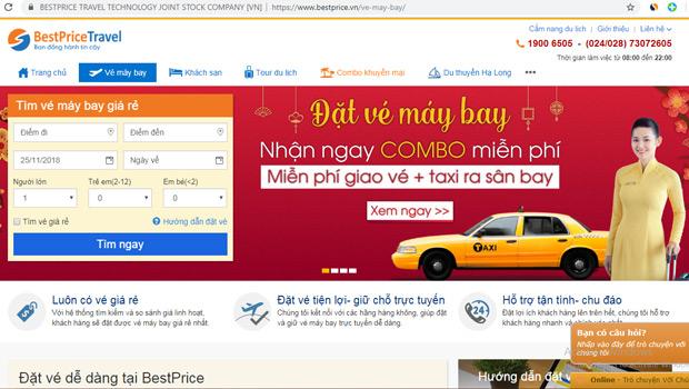 Trang web đặt vé máy bay của BestPrice