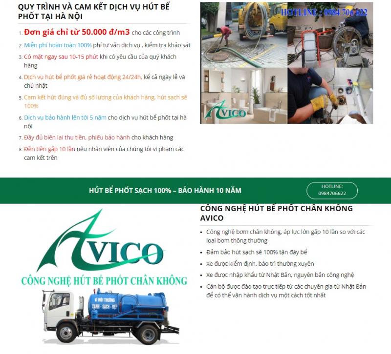 Công ty hút bể phốt AVICO