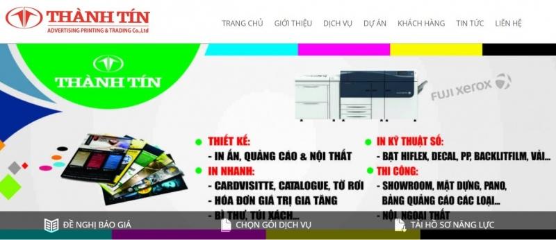 Website của Công Ty In Ấn Quảng Cáo & Thương Mại Thành Tín.