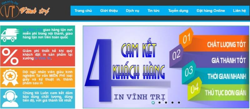 Trang web của công ty in ấn Vĩnh Trị