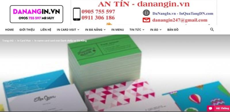 Website của Công Ty In Quảng Cáo An Tín Print Đà Nẵng.