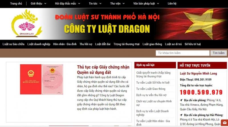 Website của Công ty Luật DRAGON