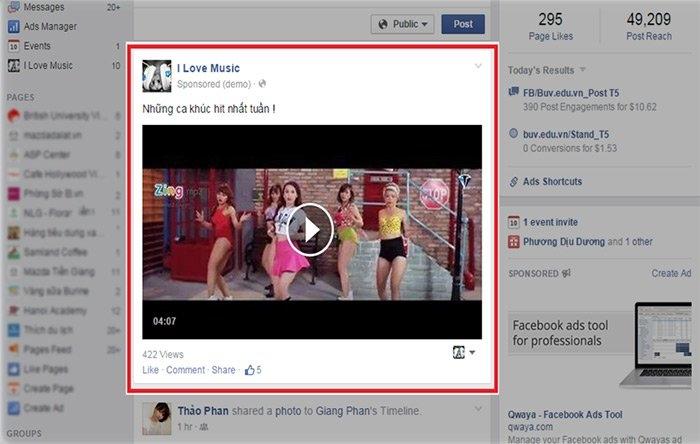 Quảng cáo Video trên Facebook (Hình minh họa)