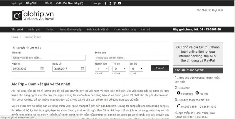 Trang web Công ty RDT Việt Nam với thương hiệu AloTrip.vn