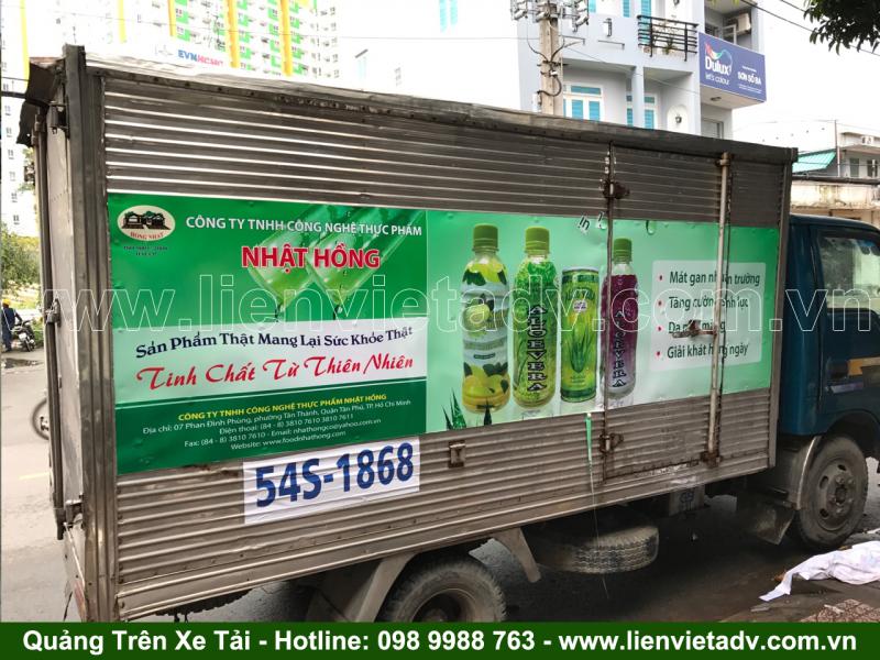 Quảng cáo trên xe tải của Công Ty TNHH Công Nghệ Thực Phẩm Nhật Hồng