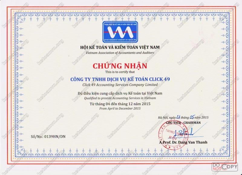 Chứng chỉ hành nghề của công ty TNHH dịch vụ kế toán Click 49