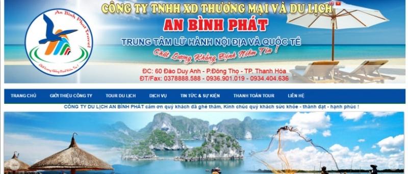 Hình ảnh website của công ty du lịch An Bình Phát