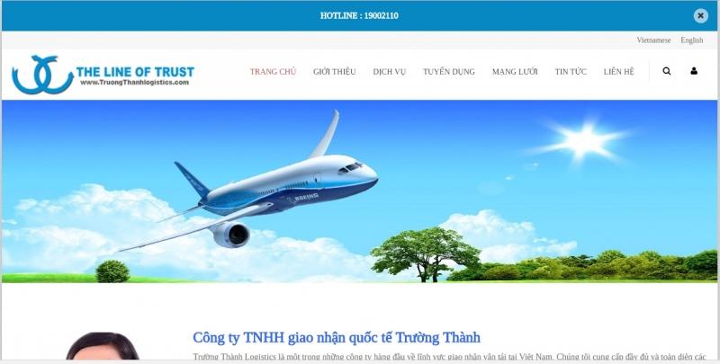 Website của Công ty TNHH giao nhận quốc tế Trường Thành