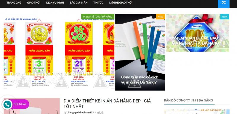 Giao diện chính website