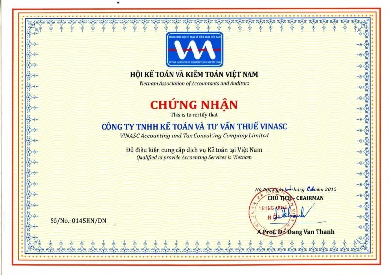 Giấy chứng nhận Công ty TNHH kế toán và tư vấn thuế VINASC