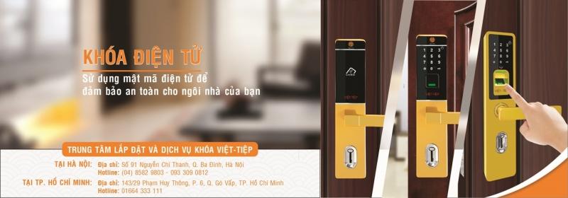 Khóa điện tử Việt Tiệp - banner giới thiệu trung tâm lắp đặt và dịch vụ khóa Việt Tiệp