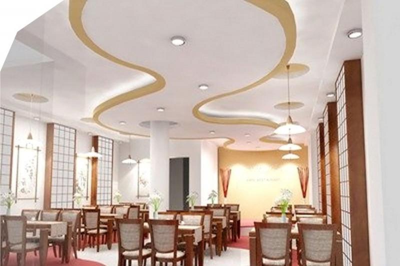 Sử dụng trần thạch cao tạo không gian sang trọng, mát mẻ cho các nhà hàng