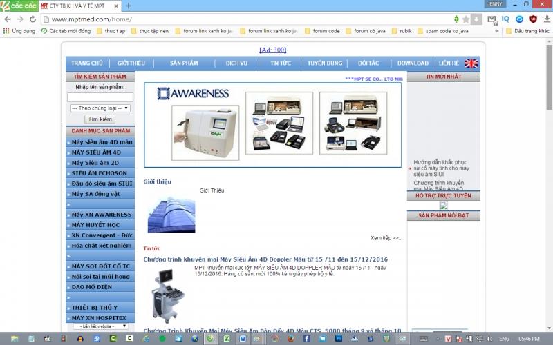 Trang web của Công ty TNHH thiết bị khoa học và y tế MPT