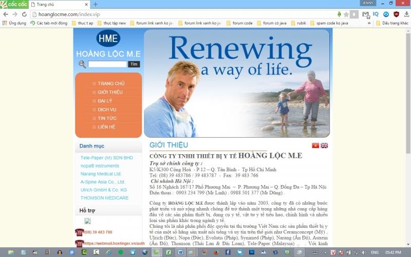 Trang web của Công ty TNHH thiết bị y tế Hoàng Lộc M.E