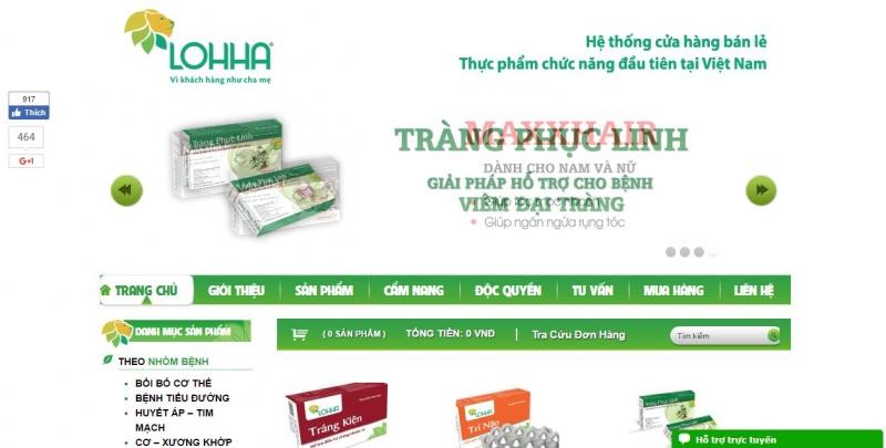 Trang web Công ty TNHH thực phẩm chức năng LOHHA