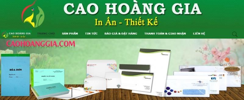 Trang web của công ty TNHH Thương mại Cao Hoàng Gia