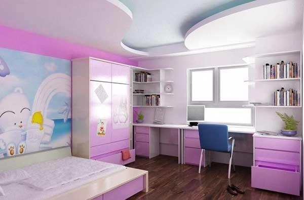 Thiết kế trần thạch cao cho phòng ngủ trẻ em