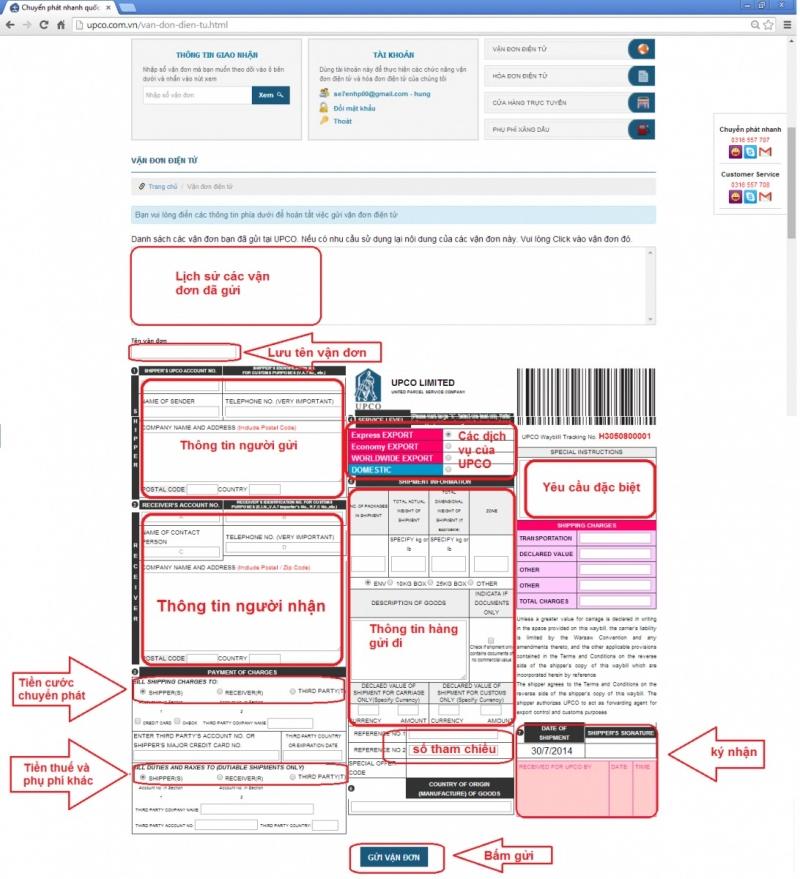 UPCO có phần hướng dẫn đặt dịch vụ cho khách hàng trên trang web của công ty.
