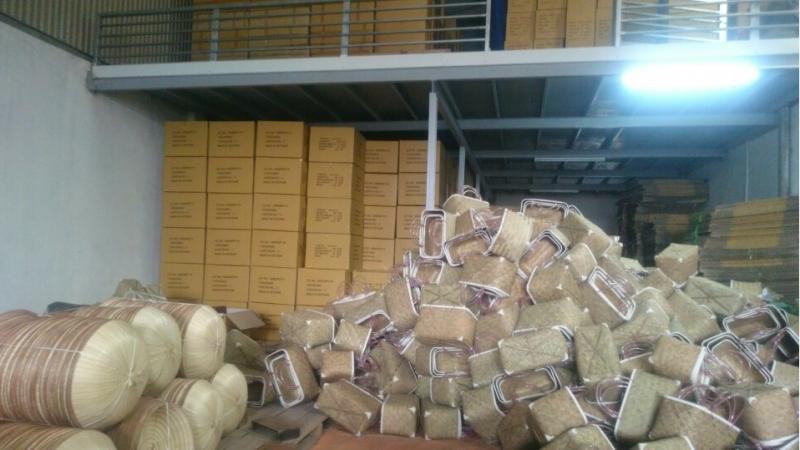 Kho hàng chứa đồ mây tre đan xuất khẩu