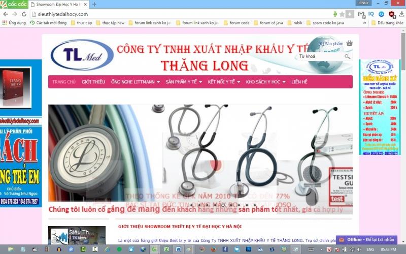 Trang web của Công Ty TNHH xuất nhập khẩu y tế Thăng Long