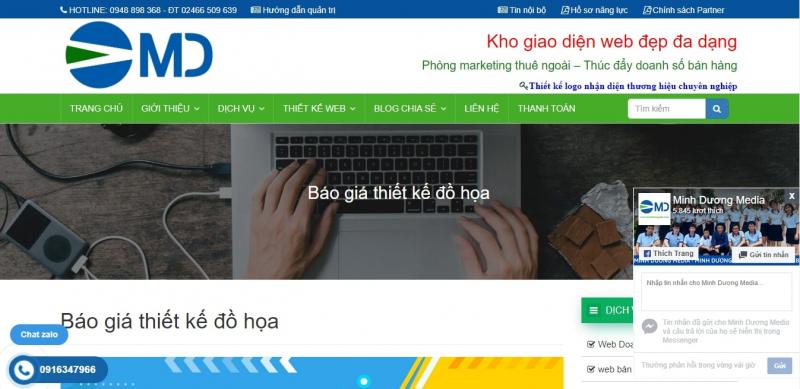 Giao diện website của Công ty Truyền thông Phát triển Minh Dương