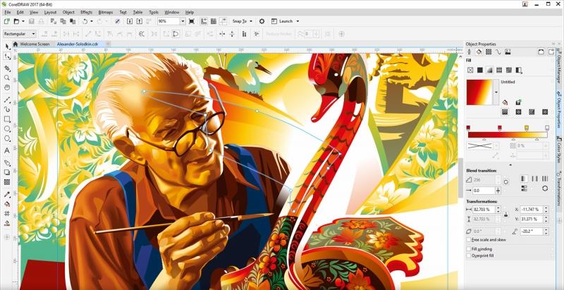 Giao diện Corel Draw và một bức tranh vẽ bởi Corel Draw