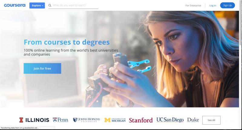 Trang web Coursera