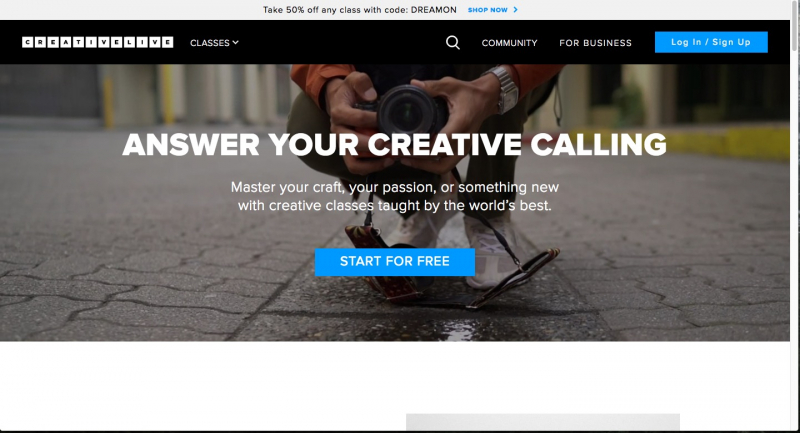 Trang web CreativeLIVE