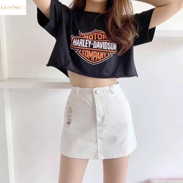 Crop-top + váy/quần cạp cao