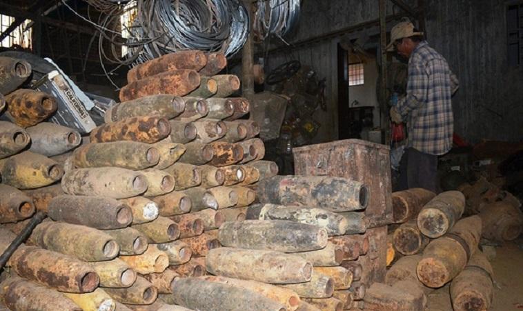 Một kho phế liệu chiến tranh ở huyện Triệu Phong từng dự trữ hàng trăm vỏ bom