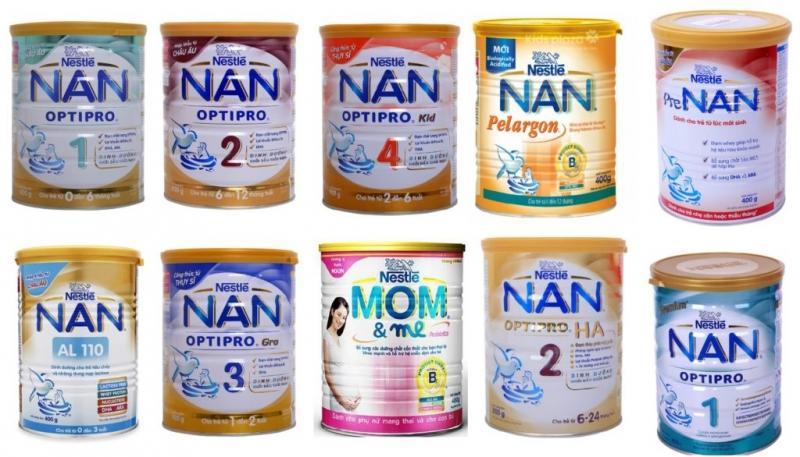 Các loại sữa Nan