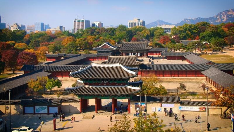 Tổng thể cung điện Gyeongbokgung.