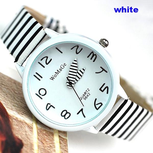 Đồng hồ đeo tay nữ Womage dây sọc khá nổi trội