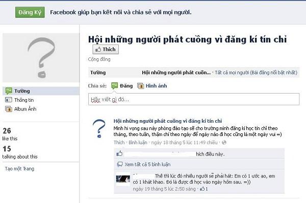 Ngay trên Facebook có lập cả một hội những người phát cuồng vì đăng kí tín chỉ