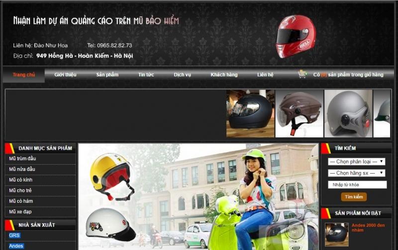 Website của Đại lý mũ bảo hiểm chính hãng GRS tại Hà Nội