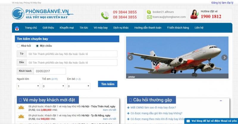 Trang web Phòng vé máy bay VietSky