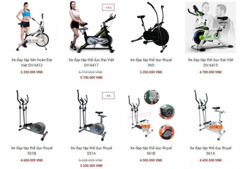 Một số kiểu xe đạp tập thể dục tại Đại Việt Sport