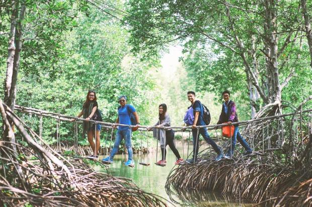 Tourists visit Monkey Island