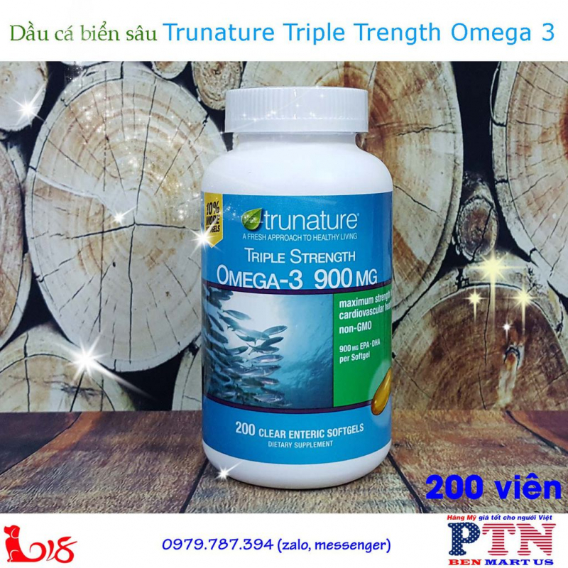 Dầu cá Omega 3 Trunature Triple Strength Omega-3 900mg 200 viên