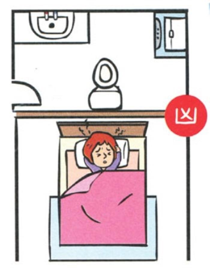 Đầu giường kiêng chiếu thẳng vào nhà vệ sinh