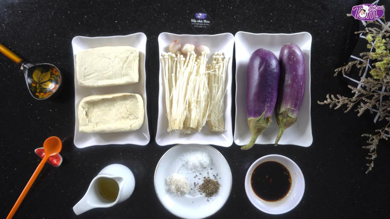 Đậu phụ xào cà tím và nấm